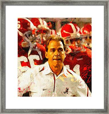 Nick Saban Roll Tide Two Framed Print