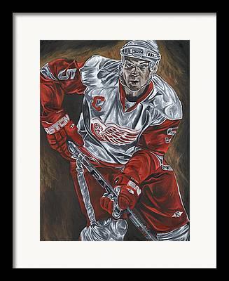 Nicklas Lidstrom Detroit Redwings Hockey Captain David Courson Art Sports Framed Prints