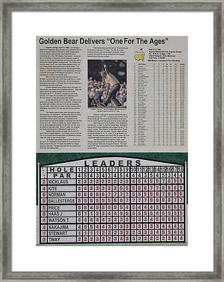 Nicklaus 1986 Masters Victory Framed Print by Marc Yench