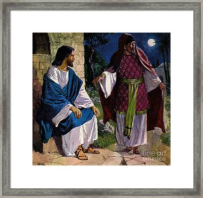 Nicodemus Coming To Jesus Christ Framed Print by Clive Uptton