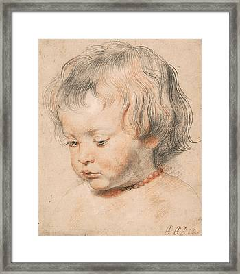 Nicolaas Rubens Wearing A Coral Neckless Framed Print