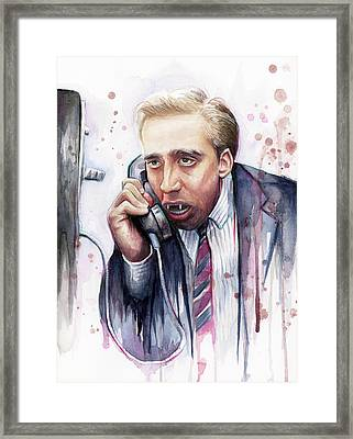 Nicolas Cage A Vampire's Kiss Watercolor Art Framed Print by Olga Shvartsur