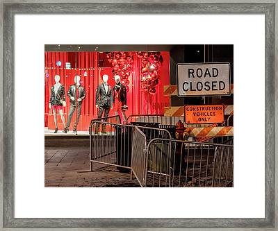 Men At Work  On Nicollet Mall Framed Print by Jim Hughes