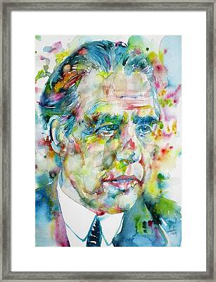 Framed Print featuring the painting Niels Bohr - Watercolor Portrait by Fabrizio Cassetta