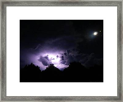 Nighscape And Lightning Photography Framed Print