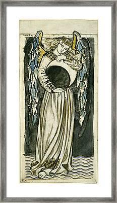 Night Angel Holding A Waning Moon Framed Print