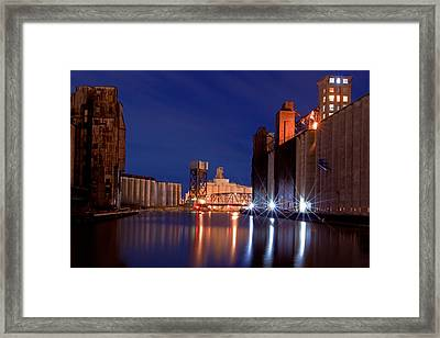 Night At Ohio Street Bridge Framed Print