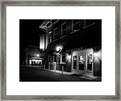 Night At The Everett Hotel In Black And White Framed Print
