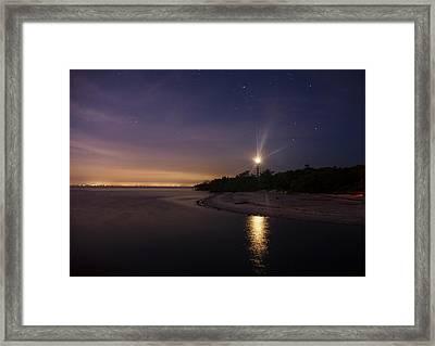 Night At The Sanibel Lighthouse Framed Print