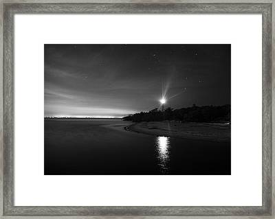 Night At The Sanibel Lighthouse In Black And White Framed Print