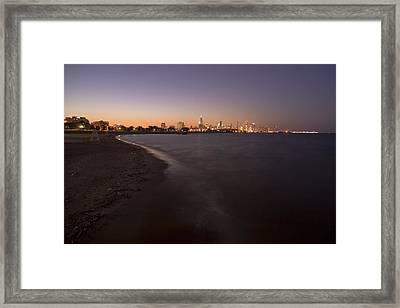 Night Beach And Chicago Skyline Framed Print by Sven Brogren