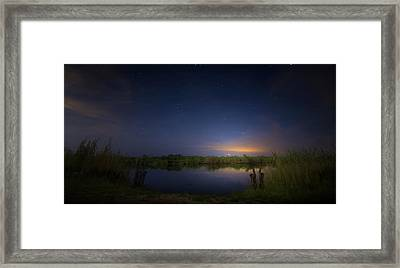 Night Brush Fire In The Everglades Framed Print
