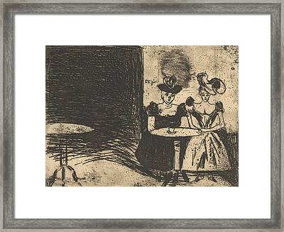 Night Cafe Framed Print by Edvard Munch
