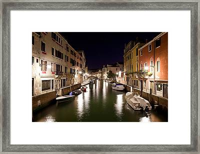 Night Canal Framed Print