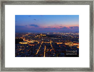 Night Cityscape Of Athens  Framed Print