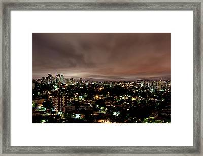 Night Cityscape Framed Print by People are strange by Patricia Kroger
