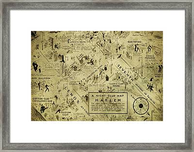 Night Club Map Of Harlem Framed Print by Bill Cannon