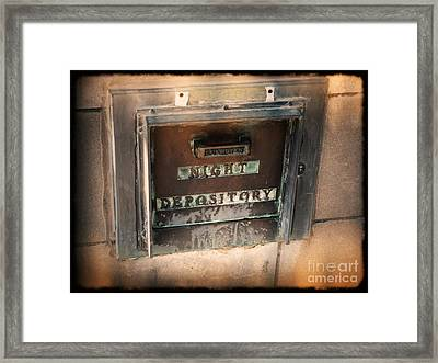 Night Deposit Framed Print by Angela Wright