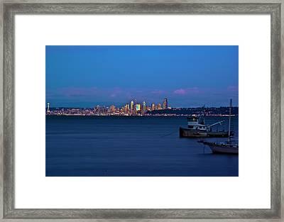 Night Descending On Seattle Framed Print by Dale Stillman