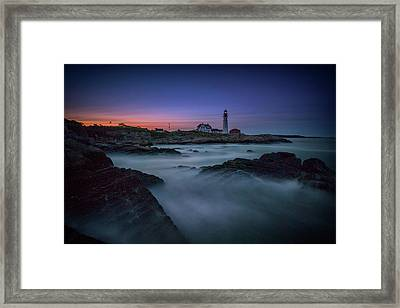 Framed Print featuring the photograph Night Falls On Portland Head by Rick Berk