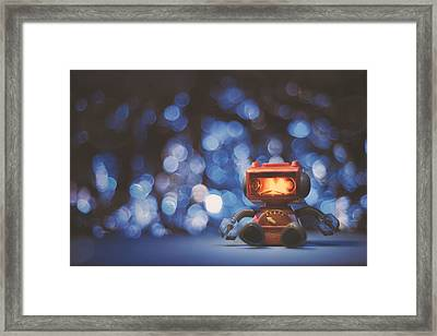 Night Falls On The Lonely Robot Framed Print
