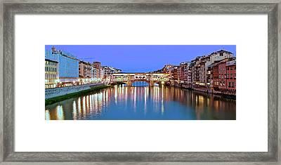 Night Falls On The Ponte Vecchio Framed Print
