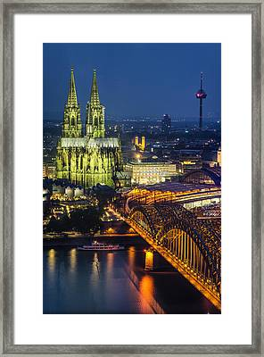 Night Falls Upon Cologne 1 Framed Print