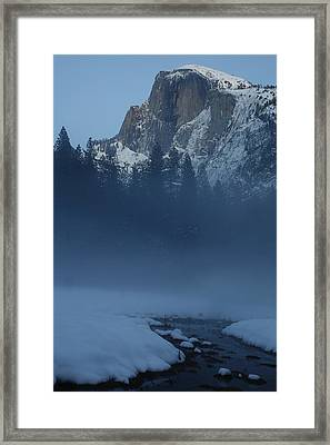Framed Print featuring the photograph Night Falls Upon Half Dome At Yosemite National Park by Jetson Nguyen