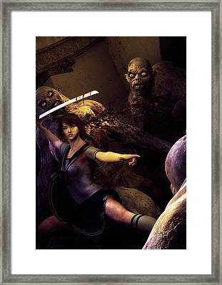 Night Fight Framed Print by Cheri Stollings