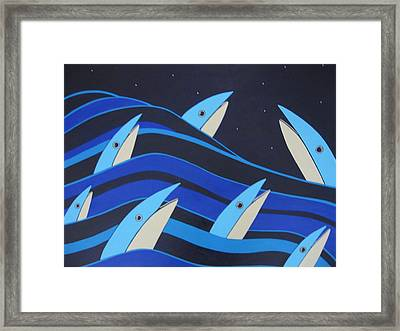 Night Fish Stars On The Water Framed Print by Sandra McHugh