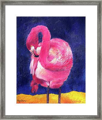 Night Flamingo Framed Print by Noga Ami-rav