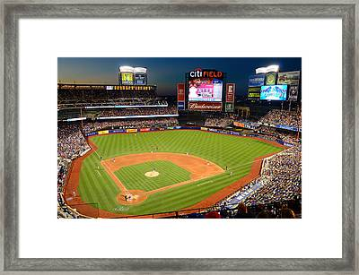 Night Game At Citi Field Framed Print by James Kirkikis