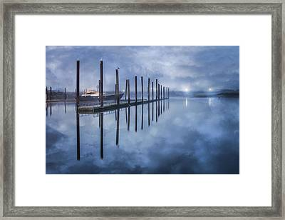 Night Harbor Framed Print by Debra and Dave Vanderlaan