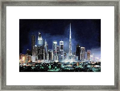 night in Dubai City Framed Print by Guido Borelli