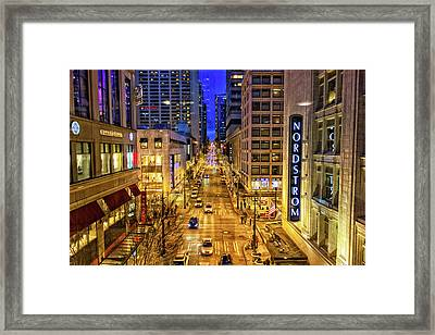 Night In Seattle Framed Print