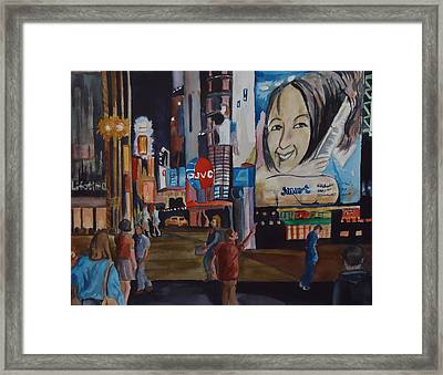 Night In Time Square Framed Print