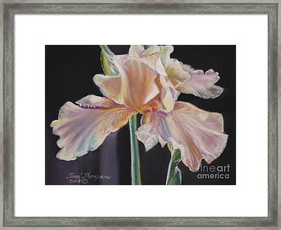 Framed Print featuring the pastel Night Iris by Terri Thompson