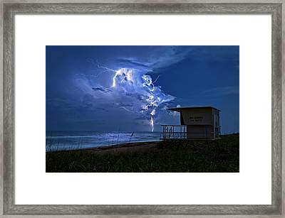 Night Lightning Under Full Moon Over Hobe Sound Beach, Florida Framed Print