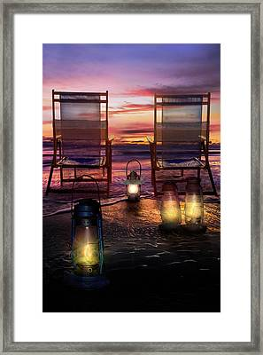 Framed Print featuring the photograph Night Lights At Sunset by Debra and Dave Vanderlaan