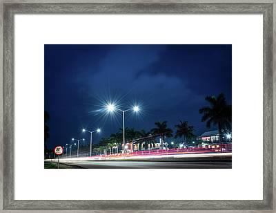 Night Lights In Montego Bay City Framed Print