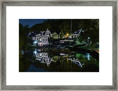 Night Lights Of Boathouse Row Framed Print by Frozen in Time Fine Art Photography