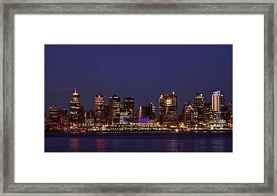 Night Lights Of Downtown Vancouver Framed Print by Mark Duffy