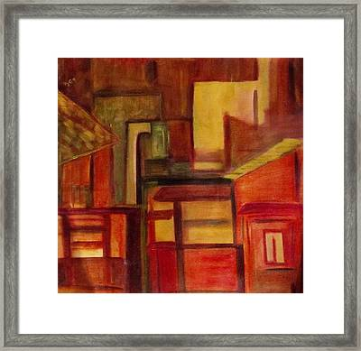 Framed Print featuring the painting Night Lights by Patricia Cleasby