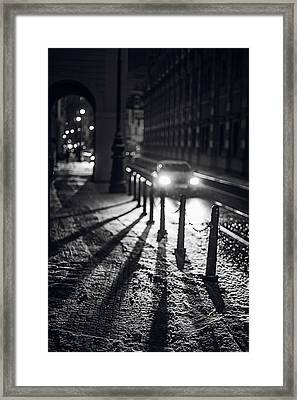 Framed Print featuring the photograph Night Lights. Prague by Jenny Rainbow