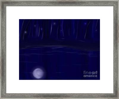 Framed Print featuring the painting Night Lights by Roxy Riou