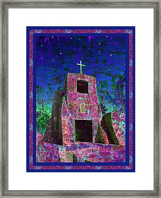 Night Magic San Miguel Mission Framed Print by Kurt Van Wagner