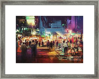 Night Market Framed Print