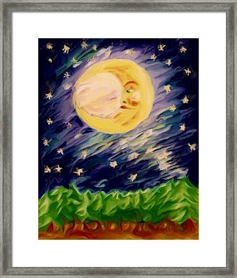 Framed Print featuring the painting Night Moon by Shelley Bain