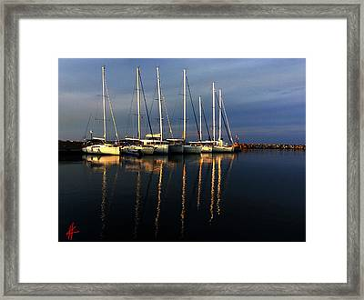 Night On Paros Island Greece Framed Print by Colette V Hera  Guggenheim