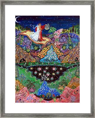 Night On The Magic Carpet Framed Print by Caroline  Urbania Naeem